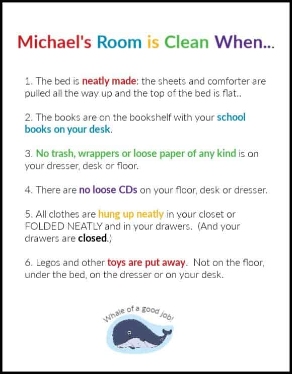 Checklist for practicing the habit of cleaning the bedroom