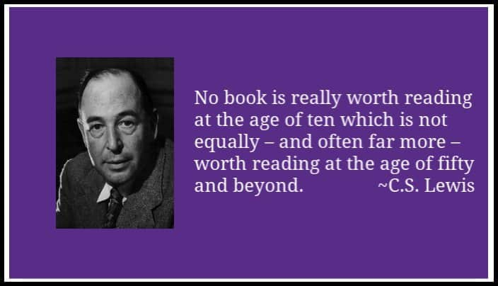cs lewis quote about living books to use in narration