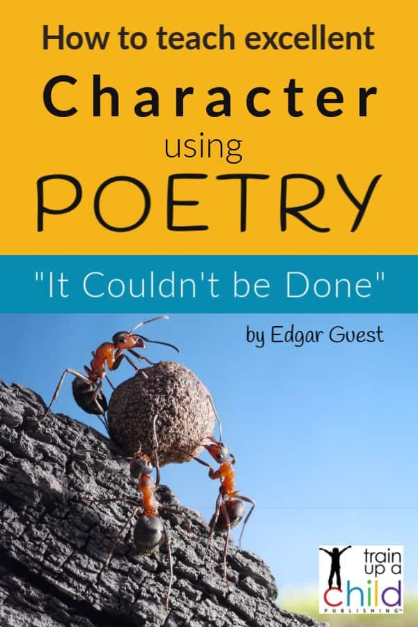 ants pushing a huge rock up a hill-teaching character using poetry