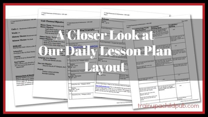 daily lesson plan layout